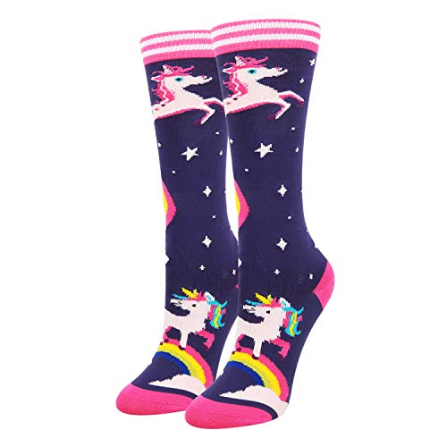 Happypop Novelty Athletic Socks Funny Crazy Rainbow Unicorn Space Star Navy Colorful Knee High Calf Socks for Women
