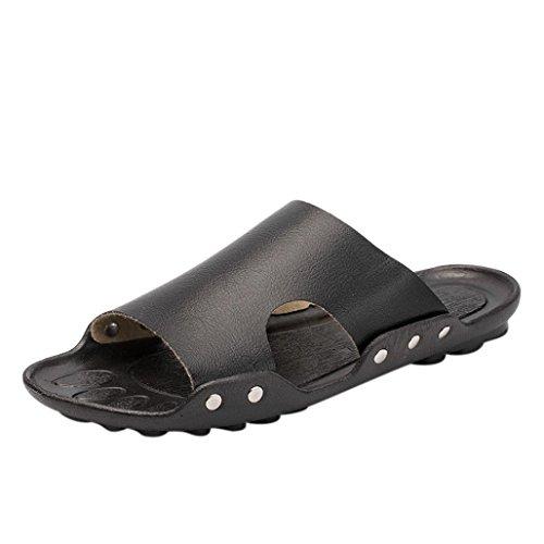 Sandalo Da Uomo Sikye Da Uomo, Traspirante Casual Giornaliero Piatto Sandalo Da Spiaggia Casa Slider Antiscivolo Nero Antiscivolo