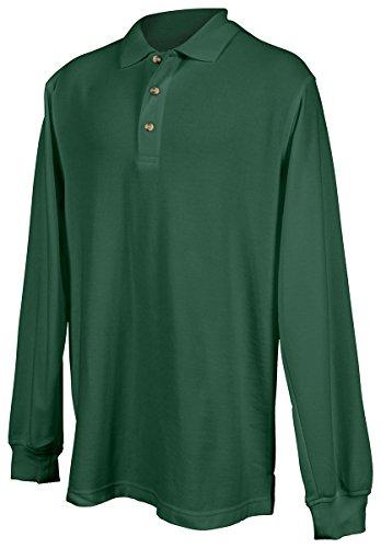 Tri Mountain Mens 60 40 Pique Long Sleeve Golf Shirt  608   Forest Green 6Xlt