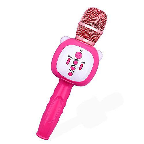 Wireless Karaoke Microphones, Micpioneer 3 in 1 Portable Bluetooth Mic Recorder Speaker Music Player for iPhone, Android and Tablet(Pink) by Micpioneer