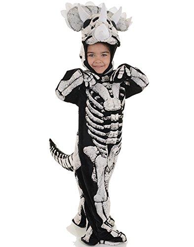 Underwraps Big Boy's Kids Fossil Dinosaur Costume, Triceratops, Med Childrens Costume, Black/White, Medium (Www Fossil De)