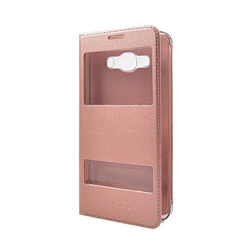 Galaxy J5 (2016) 5.2 Funda,COOLKE Ultra Delgado Diseño de ventana Flip Funda Con Soporte Plegable Carcasa Funda Tapa Case Cover para Samsung Galaxy J5 (2016) 5.2 - Rojo Rose Oro