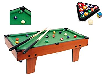LARGE TABLE TOP POOL SET CHILDRENS CUE BALLS TOY SNOOKER GAME DELUXE ...