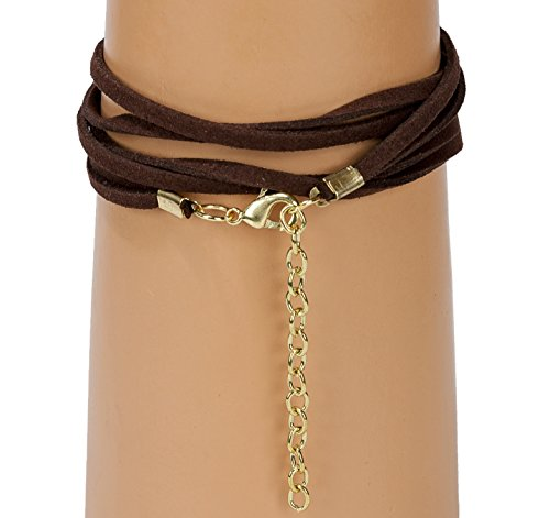 New! Handmade 3 Wrap Antique Gold Circle Brown Suede with Teal Accent Leather Bracelet with Adjustment Chain | SPUNKYsoul Collection by SPUNKYsoul (Image #2)