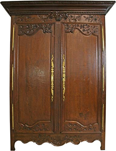 EuroLuxHome Armoire Antique French Country Farmhouse 1900 Large Solid Oak Floral Roses Brass - French Country Oak Armoire