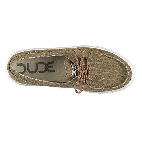 Dude Shoes Men's Kola Chestnut Canvas Deck Shoe Brown & Beige