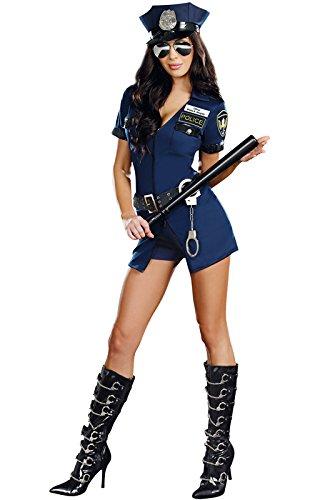 Police Costume Womens (Dreamgirl Women's Officer B Naughty Costume, Blue, Medium)
