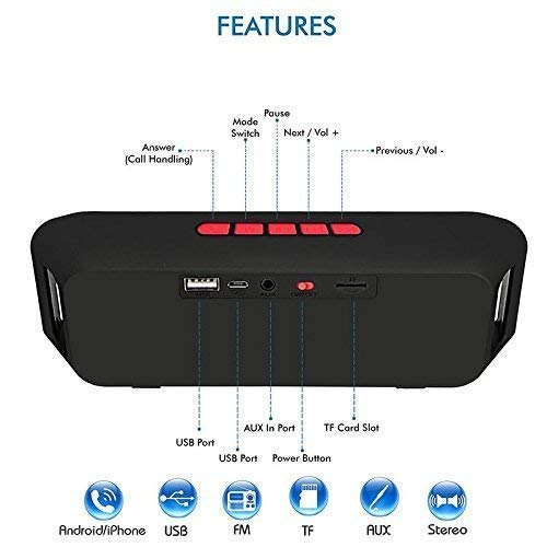 HARINA 2.1 Channel Sound Link Mini Portable Wireless Bluetooth Speaker with Aux Input FM Radio Pen Drive microSD Card Support for Android and Apple Mobile/Tablet