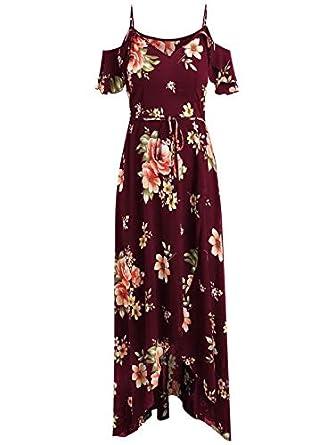HULKAY Sling Dress for Women丨Short Sleeve Cold Shoulder Boho Flower Print Dress丨Womens Summer Casual Beach Party Maxi Dresses
