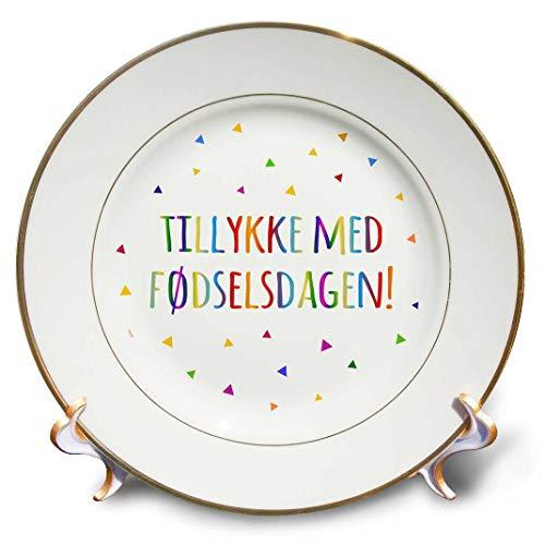 3dRose cp_202022_1 Tillykke Med Fodselsdagen - Happy Birthday in Danish. Colorful Denmark - Porcelain Plate, 8