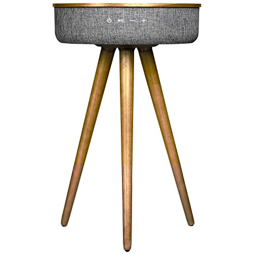 - Sierra Modern Home Studio Smart Table with Built in 360° Bluetooth Speaker & Wireless Qi Charger - Ash Wood Night Stand- Modern & Functional Coffee Table & Night Stand - Bed Room -Living Room