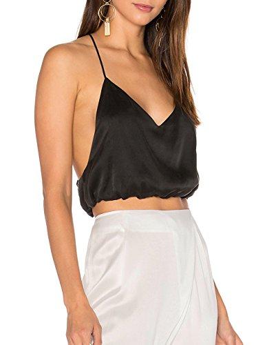 Ally-Magic Women's Silk Sexy Cami Tops Sleeveless Spaghetti Strap Night Club Tank C4731 (XL, Black)