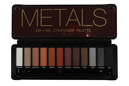 BYS Metals Eyeshadow Palette Tin with Mirror & Dual Applicator 12 Metallic - Metal Shield Eye