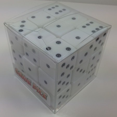 Cube of 27 Large White Dice - 25mm (1 inch!) by OneSockMacy