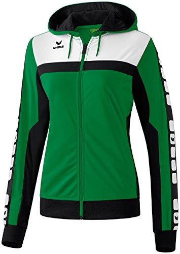 Mujeres Erima chaqueta de entrenamiento de 5 CUBOS con capucha 5-CUBOS Serie esmeralda / negro / blanco, Opciones Tamaño: 38 Mujeres