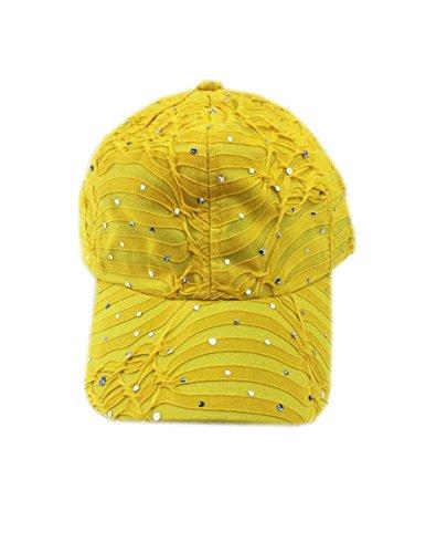 Aesthetinc Rhinestone Glitter Sequin Baseball Cap Hat Adjustable (Yellow)