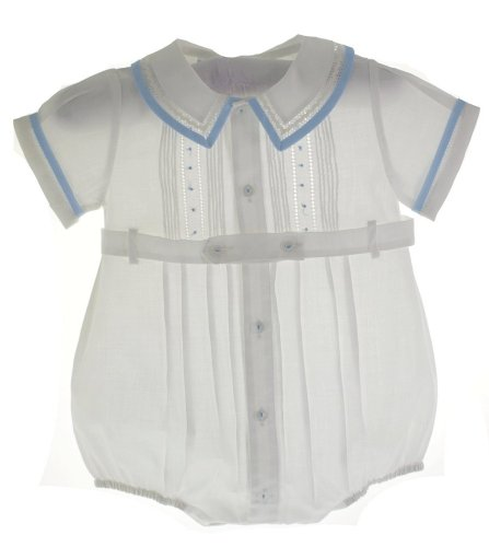 Feltman Brothers Baby Boys White Belted Bubble Outfit with Blue Trim 6M