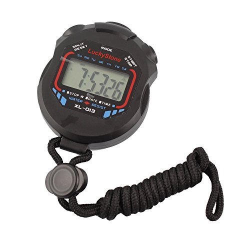 LuckyStone Professional Digital Stopwatch Timer ,Handheld LCD Chronograph Water Resistant Stop Watch with Alarm Feature for Sports Fitness Coaches and Referees (Stopwatch Handheld)