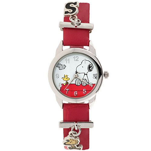 PEANUTS Snoopy And Woodstock Silvertone Watch - Vinyl Band & Dangling (Snoopy And Woodstock Charm)