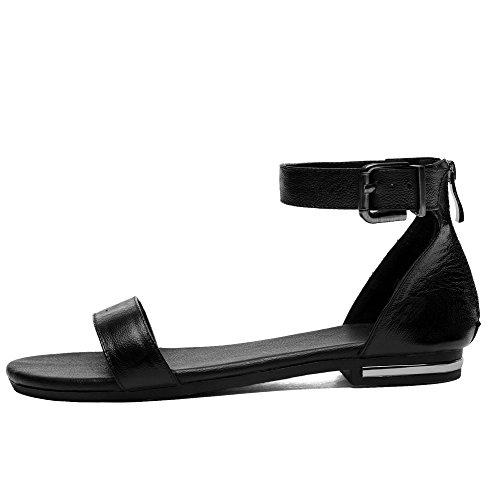 Solid Toe Women's Low Soft Open Material Black Zipper Sandals WeenFashion Heels 15x868