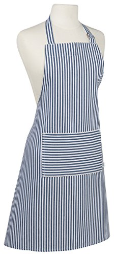 Now Designs Striped Apron (Now Designs Basic Cotton Kitchen Chef's Apron, Narrow Stripe Royal Blue)