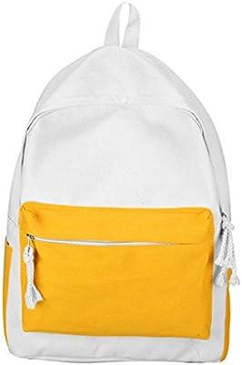 GiveKoiu-Bags - Mochilas de Lona para niñas para la Escuela, Baratas, Modernas y con diseño de Lobo, Infantil, 2019624, Amarillo, Tamaño Libre