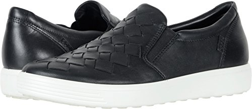 ECCO Women's Women's Soft 7 Slip Fashion Sneaker, Black Woven, 40 EU/9-9.5 M US
