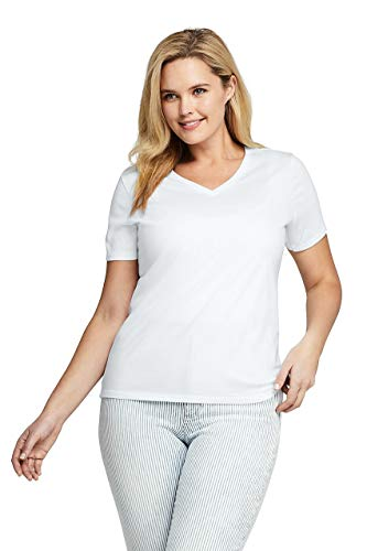 Lands' End Women's Plus Size Relaxed Fit Supima Cotton V-Neck Short Sleeve T-Shirt White
