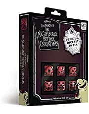 USAOPOLY Nightmare Before Christmas Premium Dice Set Collectible d6 Dice Red & Black Custom Dice with Collectible Tin Case Officially Licensed Disney 6-Sided Dice (AC004-291-002000-12)