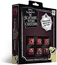 USAOPOLY Nightmare Before Christmas Premium Dice Set Collectible d6 Dice Red & Black Custom Dice with Coll