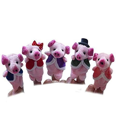Baby Early Education Toys Gift -VIASA Pink Pigs Finger Puppet Plush Child 5pcs - Horse Puppet Kit