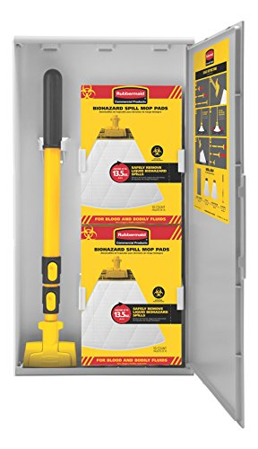 Rubbermaid Commercial Biohazard Spill Mop Kit, Includes: Storage Cabinet, Mop Handle, 10-Count Biohazard Mop Pads (2031094)