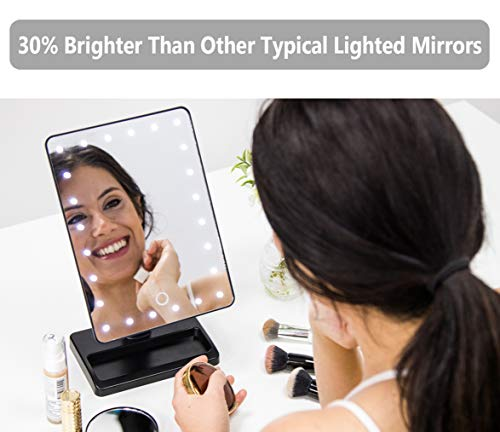 Waneway 12-Inch Screen Makeup Mirror with 24 LED Lights, Lighted Vanity Dressing Table Mirror with Touch Dimmable Memory…