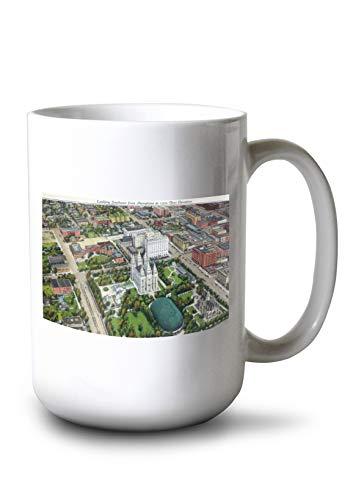 Lantern Press Salt Lake City, Utah - Southeastern Aerial View of The Mormon Temple and Grounds (15oz White Ceramic Mug)