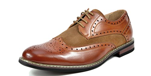Bruno MARC PRINCE Men's Oxford Modern Classic Brogue Wing-Tip Leather Lined Perforated Dress Oxfords Shoes