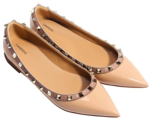 Womens Dress Shoes Classic Pump (Women's Classic Rivets Pointy Toe Slip On Comfort Flats Dress Pumps Shoes Beige Patant PU Size 7.5 EU38)