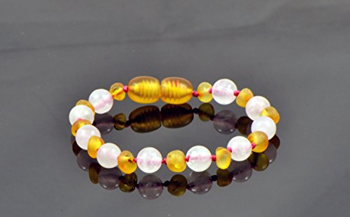 Baltic Amber Teething Bracelet/Anklet Mixed with Quartz Beads- Hand-Made from Certified Natural Baltic Amber Beads (4.7 inch (12cm), Raw Honey/Quartz)