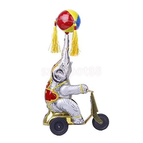 Wind Up Tricycle (Wind Up Clockwork Circus Elephant on Tricycle Revolving Ball Retro Tin Toy)