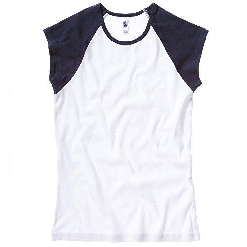 Bella+Canvas Baby rib cap sleeve contrast raglan t-shirt White / Navy XL