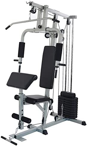 Sporzon! Home Gym System Workout Station with 330LB of Resistance, 125LB Weight Stack, Gray