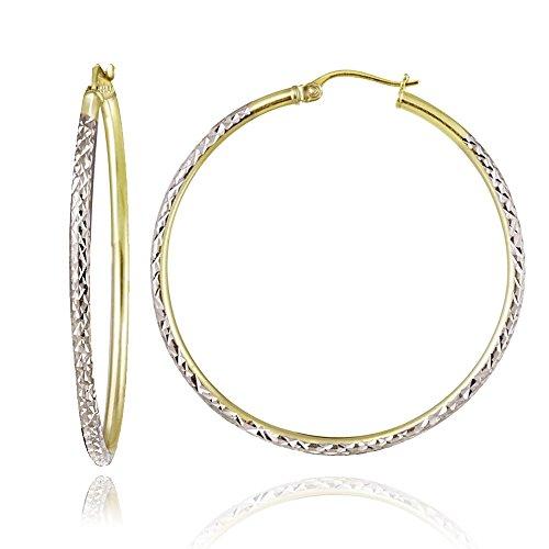 Hoops & Loops Sterling Silver Two Tone 2mm Diamond Cut Round Hoop Earrings, 45mm