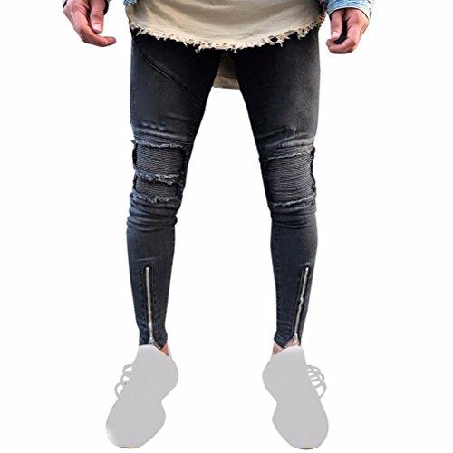 Vaqueros Rotos Negro Hombre Con Cremallera LHWY, Vaqueros LáPiz Pantalones SúPer Pitillo Pantalones Largos Denim Casuales