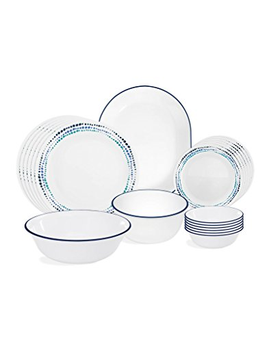 Corelle Ocean Blues Glass 21Pcs Dinner Set, Multicolor