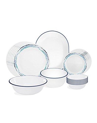 Corelle Ocean Blues Glass 21Pcs Dinner Set, Multicolor