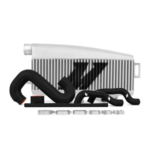 Mishimoto MMTMIC-WRX-01SLBK Subaru WRX/STI Performance Top-Mount Intercooler Kit, Silver Intercooler Black Hoses, 2002-2007
