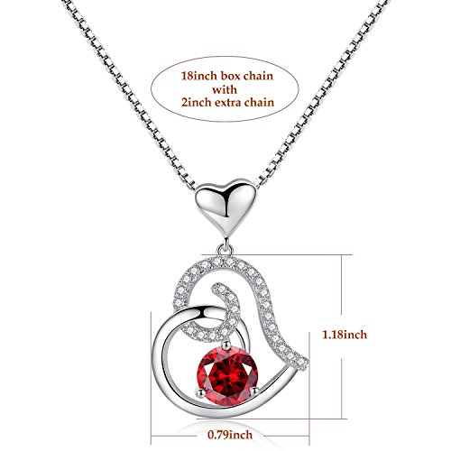 Garnet January Birthstone Necklace, Ladies Birthday Necklace Gifts, Love Heart Cubic Zirconia CZ Pendant Necklace, Jewelry for Women, Girls, Friendship, Wife, Mom, Mother, Her, Anniversary Gift by Studiocc (Image #3)