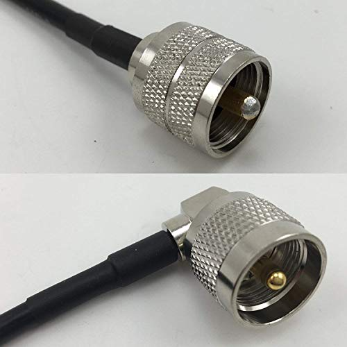 18 inches RG58 PL259 UHF Male to UHF Male Angle Pigtail Jumper RF coaxial cable 50ohm Quick USA Shipping by Custom Cables Group LLC