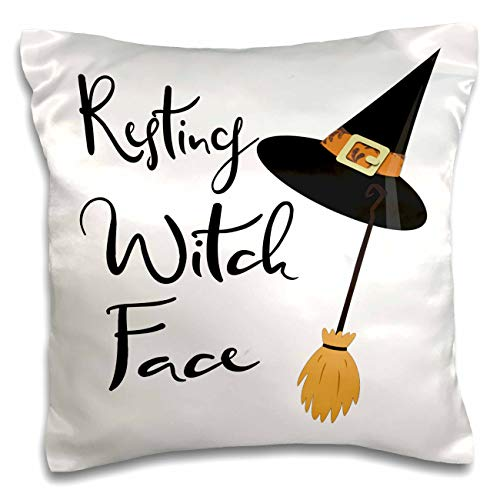 3dRose Anne Marie Baugh - Quotes, Sayings, and Typography - Resting Witch Face - Halloween Saying - 16x16 inch Pillow Case (pc_297023_1)