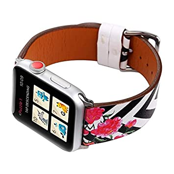 PENKEY for Apple Watch 38mm and 42mm Floral Pattern Leather Watch Band Strap, Replacement iWatch Bracelet Wristband Options for Series 3, Series 2, ...