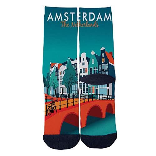 Eletina lee Eletina kgirt Men S Women S Custom Travel Posters in Amsterdam Netherlands Socks 3D Print Novel Creative Casual Crew Socks